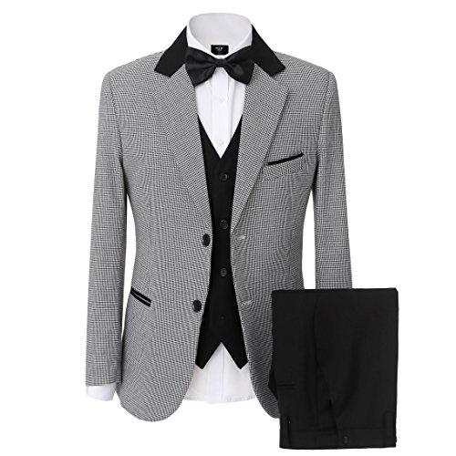Solovedress Herren 3 Stück Anzug setzt Zwei Tasten Smoking Männer Anzug Groomsmen Blazer (PC,44) -