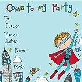 Rachel Ellen Eingestellt Von 8 Kinder-Party-Einladungen - Superhelden Lädt - Super Hero Invites