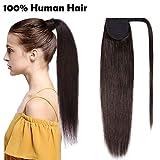 Extension Cheveux Naturel Ponytail Queue de Cheval Extension(16'/40cm) [Wrap Around Ponytail] [02#Marron Foncé] Les Mèches Tombent Pas et S'emmêlent Pas