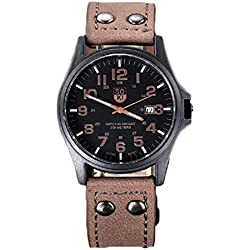 Koly Men's Waterproof Vintage Classic Date Faux Leather Strap Sport Quartz Army Watch Brown
