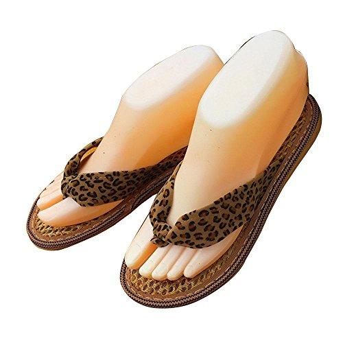 WANGXN Chaussures en soie marron Chaussons femmes douces Chaussons minces et lisses Leopard Flat Low Word Flip Retro leopard print