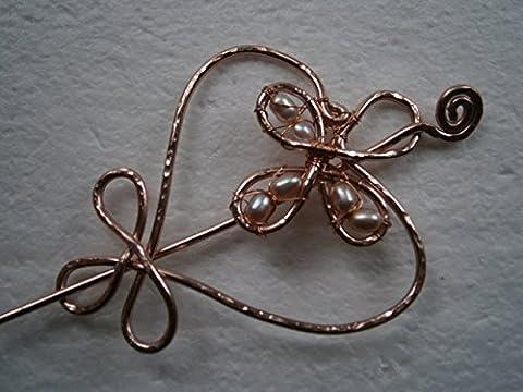 Tuchnadel celtic knot Herz groß mit Süßwasserperlen rosa Alu in Farbe rosegold als Geschenk, Geburtstagsgeschenk, Weihnachtsgeschenk