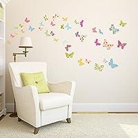 Decowall Mariposas con Dibujos Vinilo Pegatinas Decorativas Adhesiva Pared Dormitorio Salón Guardería Habitación Infantiles Niños Bebés DW-1408 DS-8005