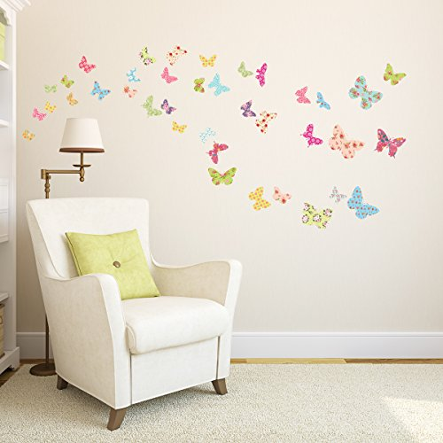 Preisvergleich Produktbild Decowall DW-1408 Gemusterte Schmetterlinge Tiere Wandtattoo Wandsticker Wandaufkleber Wanddeko für Wohnzimmer Schlafzimmer Kinderzimmer
