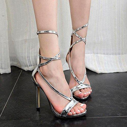 GLTER Femmes Chaussures à talons Chaussures populaires Argent Talon haut Croisé Sandales Hollow Chaussures Femmes Charme Chaussures Court Chaussures Argent Talon Cone Silver