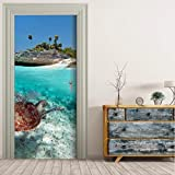 Haipeiy Türaufkleber 3D Seaside schildkröte Tür Wandaufkleber Schlafzimmer Wohnkultur Poster PVC Wasserdichte Tür Aufkleber 77x200cm