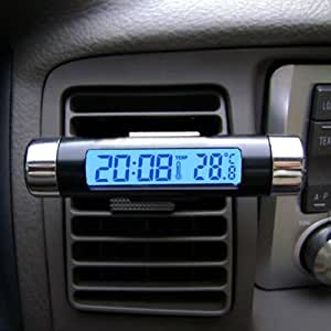 Car LCD Clip-on Digital Back Light Automotive Clock with Thermometer/Clock - Black