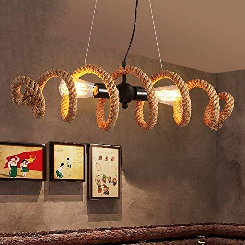 BAIF Colgante de luz de la Vendimia Lámpara de cáñamo de Cuerda de cáñamo Lámpara suspendida Lámpara de Techo de Metal E27 para Sala de Estar Restaurante Cafe Bar Luces Decorativas Araña (Color: