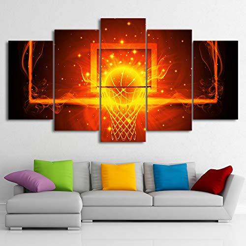 BOYH Modular Leinwand HD-Druck Malerei 5 Stücke Feuer Basketball Poster Wand Kunst Wohnzimmer Haus Dekoration Frameworks,A,30×40×2+30×60×2+30×80×1 (Basketball-wand-kunst)