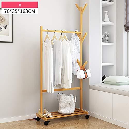 MUZIDP Garderobenständer,Massivholz Multi-Purpose Mit riemenscheibe Entfernbar Kleiderständer Kleidung Für Schlafzimmer Wohnzimmer-B 70x35x163cm(28x14x64inch)