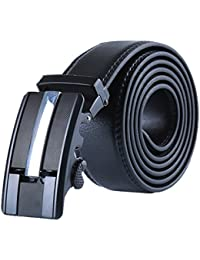 """sourcingmap Mens Automatic Ratchet Leather Belt with Alloy Buckle Wide 1 1/2"""""""