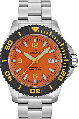 Delma Taucheruhr/Herrenuhr Automatik mit Metallband - 407001 (orange)