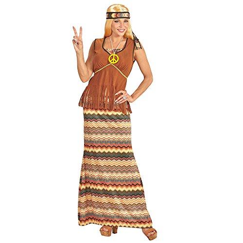 Widmann 06532 - Erwachsenenkostüm Hippie Woman, Kleid mit Weste, Rock, Stirnband, Kette mit Peace-Zeichen, (Mode Schwarze 70er Jahre)