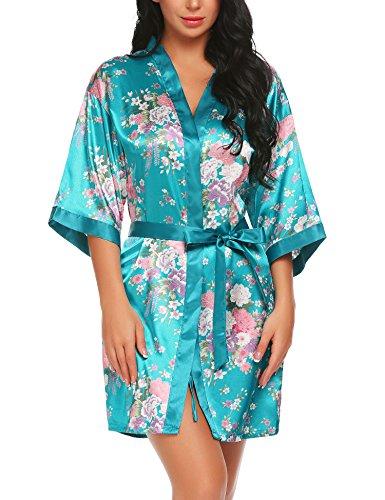 Lucyme Damen Morgenmantel Kimono Bademantel Kurz Satin Nachtwäsche Robe Schlafanzug Mit Blumen,Blau,S