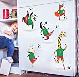 Wandaufkleber Cartoon Tier Fußball Spielen, Diy Abnehmbare Tapete, Kinderzimmer Kindergartendekoration 50 * 70 Cm Abziehbild