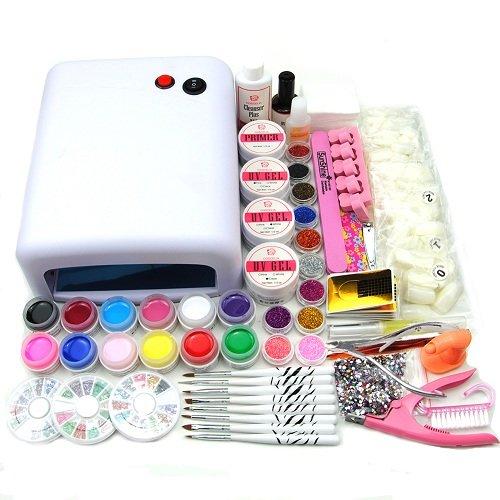 Coscelia 36W UV Lámpara Uñas Kit de Acrílicos Brillos UV Gel Decoraciones de Uñas 500 pcs naturaleza uñas