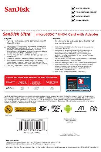 SanDisk Ultra Scheda di Memoria MicroSDXC da 400 GB e Adattatore, con A1 App Performance, Velocità fino a 100 MB/sec, Classe 10, U1