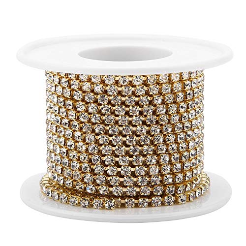 istall Strass Kette DIY Mode Nahe Tasse Kette Bekleidung Kristall Diamant Band Dekoration Zubehör(Gold) ()