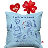 indibni Love Printed Cushion 12X12 Pillow with Filler Insert Blue Together Travel Whole World