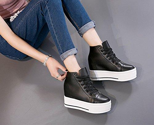 Damen Plateauschuhe Hidden Wedge Keilabsatz Ankle-Boots High Top Sneakers Schwarz