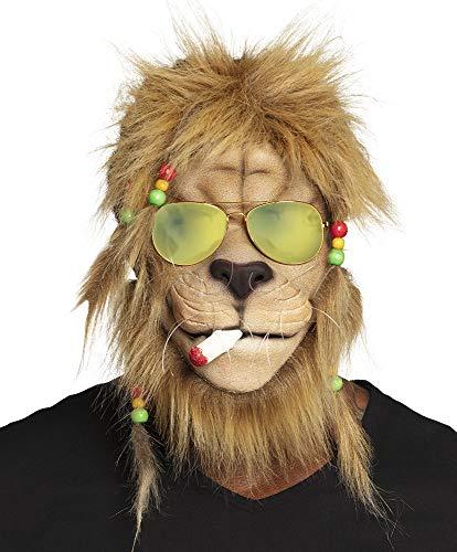 shoperama Maske Kiffender Rasta Löwe mit Haaren und Brille Latexmaske Karneval lustig (Joint Halloween Kostüm)