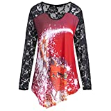 TWIFER Frauen Weihnachten Raglan Spitze Langarm Bedruckt Oansatz T-Shirt Bluse