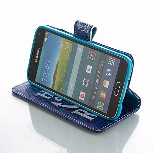 Coque pour Samsung Galaxy S6 Edge Plus, Etui pour Samsung Galaxy S6 Edge Plus, ISAKEN Peinture Style PU Cuir Flip Magnétique Portefeuille Etui Housse de Protection Coque Étui Case Cover avec Stand Sup Ancre Texte
