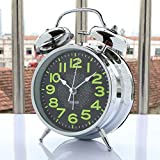 """Sapphire India Alarm Clock for Heavy Sleepers 4"""" Twin Bell Vintage Alarm Clock with Backlight, Silent Sweep Seconds Desk Clock for Bedroom, Battery Operated Loud Alarm Clock"""