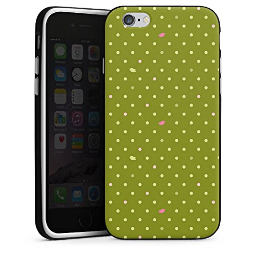 Apple iPhone X Silikon Hülle Case Schutzhülle Punkte Grün Muster Silikon Case schwarz / weiß
