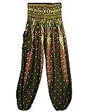 Damen Pumphose Pluderhose Harem-Stil Sommerhose Pfau Freizeithose Aladinhose Hose Dunkelgrün Eine Größe