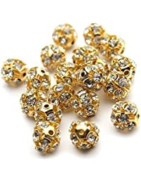 Stone Balls, 8mm, Gold Finish, Pack Of 100 Nos For Jewellery Making