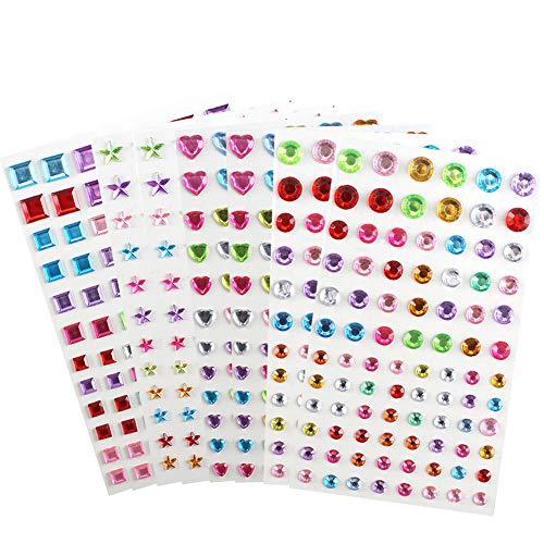 Luluna adesivi strass in acrilico 8 fogli 704 pezzi colorato strass autoadesivo con varie forme adatto ad diy album fotografici cellulari coroncine da principesse decorazioni artigianali