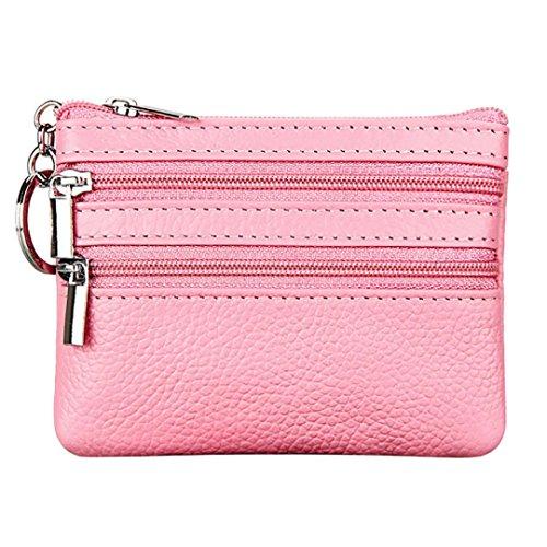 FORH Damen Geldbörse Geld Beutel Frauen Mini Münzen Leder Geldbeutel mit Schlüsselanhänger Reißverschluss Portemonnaie (Pink) - Pink-münzen-geldbeutel-schlüsselanhänger
