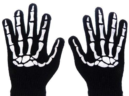 Evil Wear Handschuhe mit Skelettdruck Skull Hand Einheitsgröße U11-1