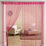 #7: Pindia 1Pc Beautiful 8FT Pink Color Thread Curtain Decorative Polyester Room Divider String Thread Room Door Curtain- 8FT