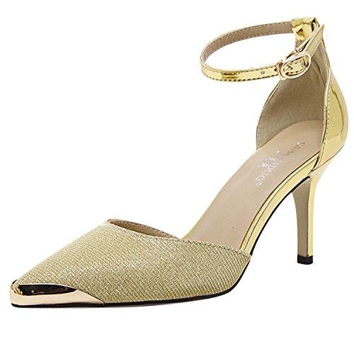 Oasap Women's Pointed Toe Ankle Strap Stiletto Pumps golden