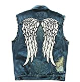 The Walking Dead Daryl Dixon Angle Wings Patch Nottilucenti Biker Vest Uomo Motor Rider Moto Denim Jeans Vest Blue L