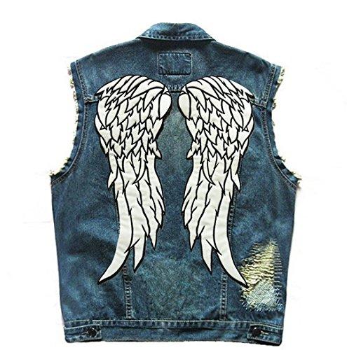 ing Dead Daryl Dixon Winkelflügel Patches Nachtleuchtende Biker Weste Herren Motor Rider Motorrad Denim Jeans Weste Blue XL ()