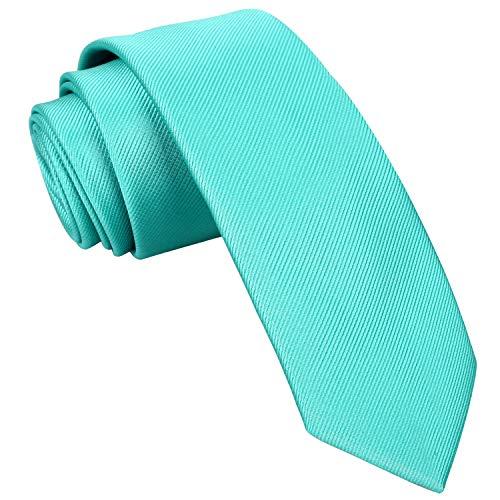 Alizeal Lisa-Corbata Estrecha para Hombre (Azul Verde)