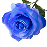 Künstliche Rose,Real Touch Silk Latexblume hochwertige künstliche Rose Blumen Kunstblumen Dekoration Blumenstrauß DIY Rosen für Blumenarrangement für Valentinstag Geburtstag (Blau)