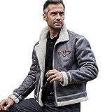 FREE SOLDIER Herren Classic Jacke Fleece Warm Jacket für Herbst Leder Fell Winterjacke Pilot Jacke XL grau