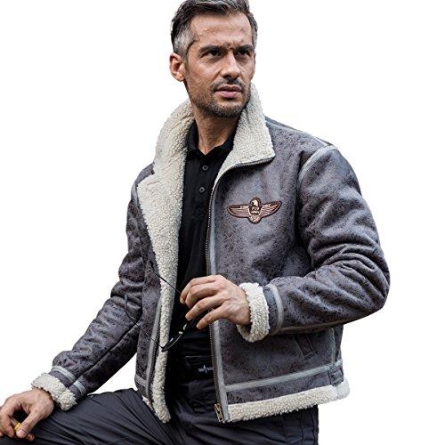 Free Soldier Herren Classic Jacke Fleece Warm Jacket für Herbst Leder Fell Winterjacke Pilot Jacke L grau (Herren Wool Jacke Gefütterte Classic)