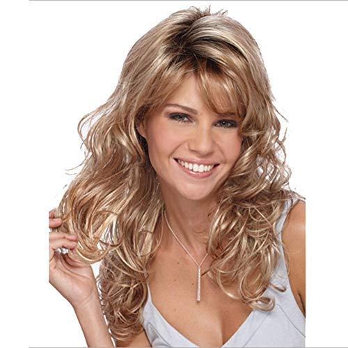 GGVK&W Lange Welle Lockige Blonde Perücke Für Frauen-Hitzebeständige -