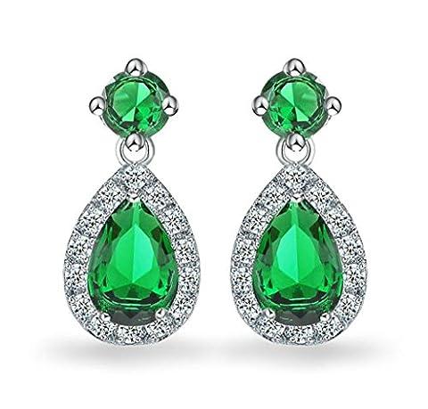 KnSam Boucles d'Oreilles Plaqué Argent Dangle Earring Vert Cristal Classique Cercle Rond Goutte d'Eau [Bijoux