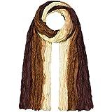Japanwelt Seidentuch elegantes Damen Halstuch Crash-Schal 100% Seide silkroad 90 x 180 cm Verlauf Braun Cremeweiß