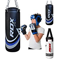 RDX Kids Punch Bag Filled Set Junior Kick Boxing Heavy MMA Training Youth Gloves Punching Mitts Hanging Chain Ceiling Hook Muay Thai Martial Arts 2FT