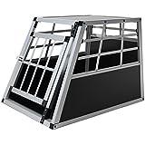 Hundebox aus Aluminium für den Transport kleiner Hunde Auto Gitterbox mit geneigter Vorderseite für PKW Kofferraum