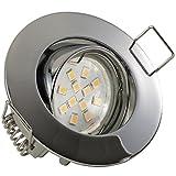 5er Set (3-8er Sets) Einbaustrahler PICCO extra flach geringe Einbautiefe ca. 3 cm; LED 2,0 Watt (210 Lumen) Warm-Weiß; 12V inkl. Trafo; CHROM (auch in Edelstahl, Weiß)