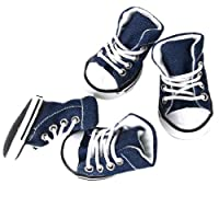Pet Dog Denim Sport Shoes Boots Sneakers - Fit Paws (Approx.): 2.6 x 1.5 Inch (6.6 x 3.8cm)
