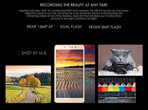 LEAGOO M8 - 5.7 pulgadas 2.5D IPS Corning Gorilla Glass 4 Phablet Android 6.0 teléfono inteligente Quad Core 1.3GHz 2GB RAM 16GB 8MP + 13MP Cámara Huella digital - oro
